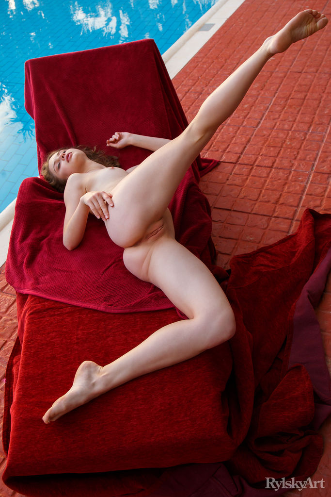 blue eyed redhead spending a sloppy afternoon naked on the inflatable mattress #6