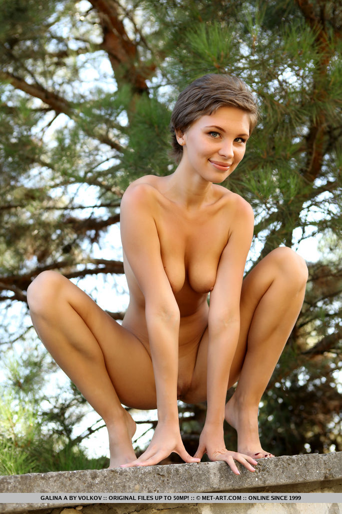 tall shorthaired russian cutie gets fully nude in the forrest #5