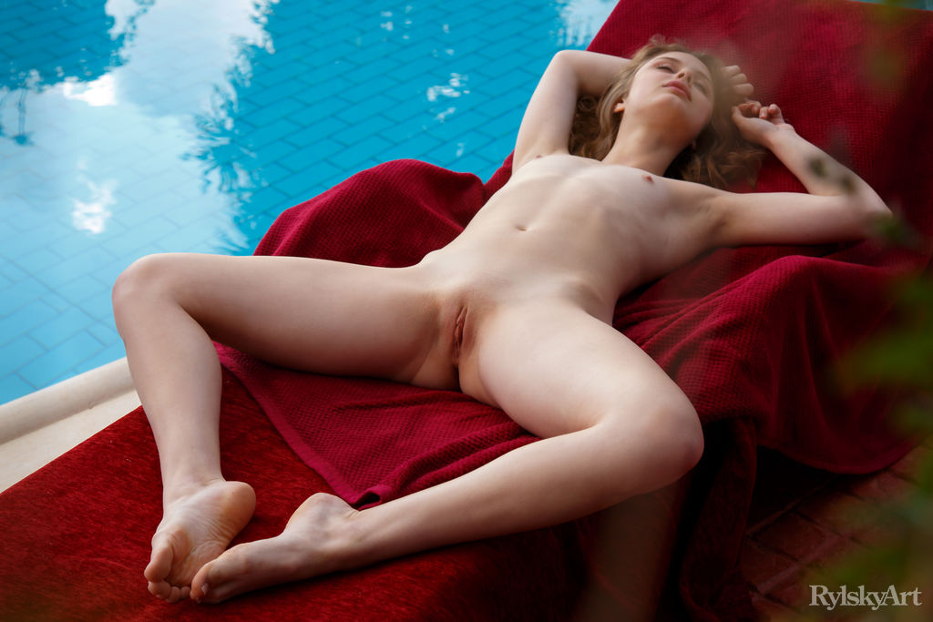 blue eyed redhead spending a sloppy afternoon naked on the inflatable mattress #12