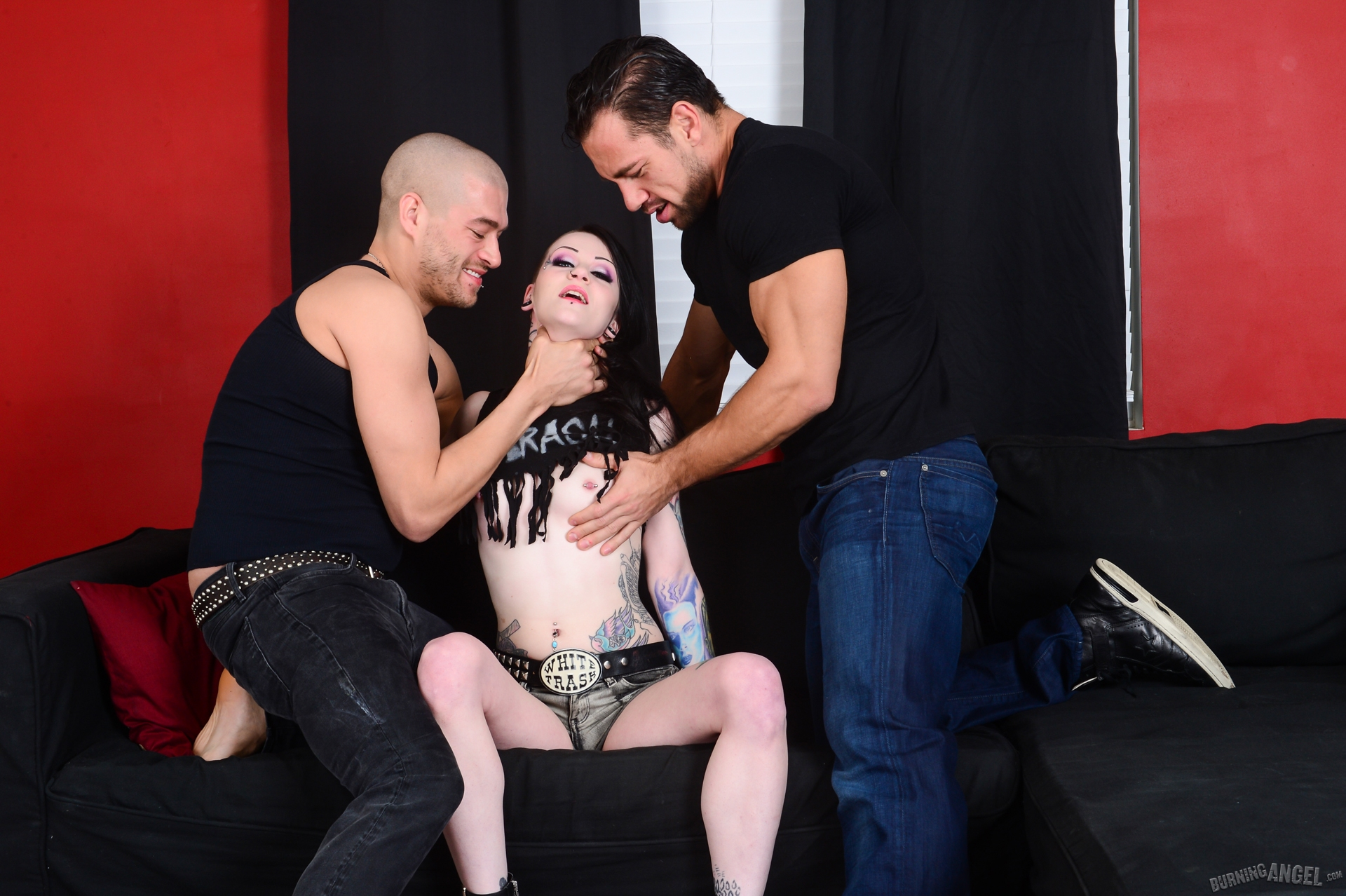 stylish gothic slut sandwiched by two fake producers #2