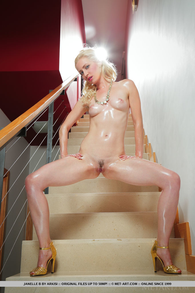 oiled up russian beauty posing her shiny naked body in a luxury villa #7