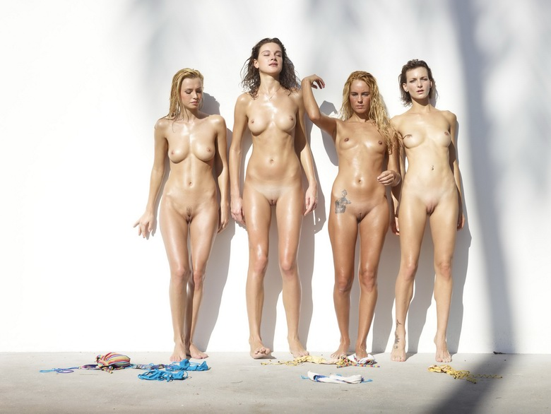 4 cute nudist girls against the wall #12