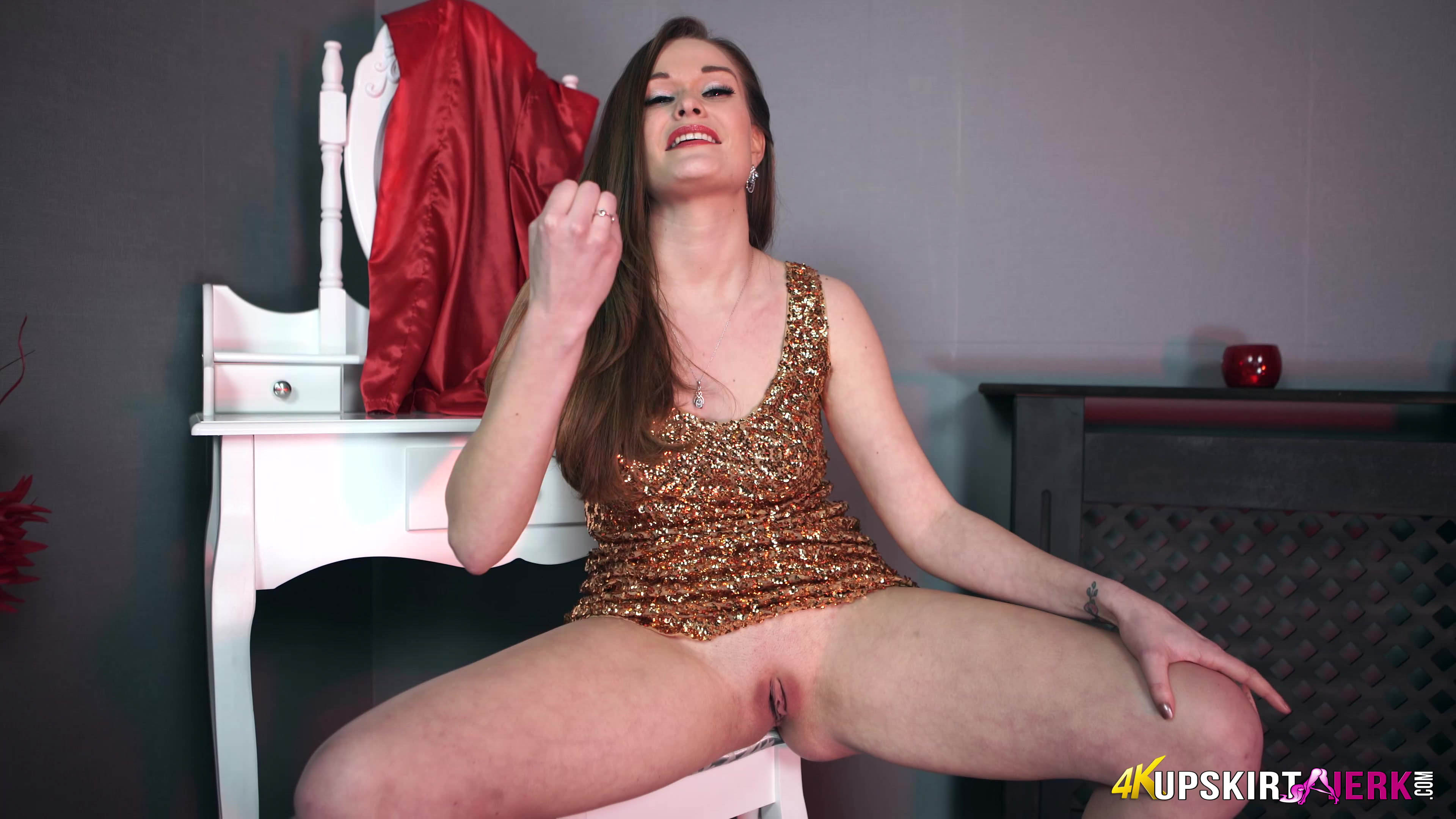 cute british secretary honour may teasing her boss without panties (upskirt flash) #2