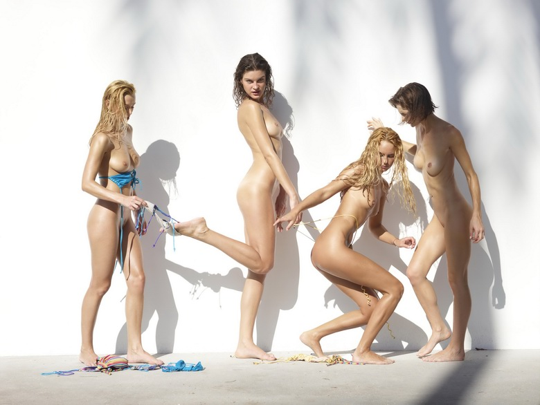 4 cute nudist girls against the wall #1