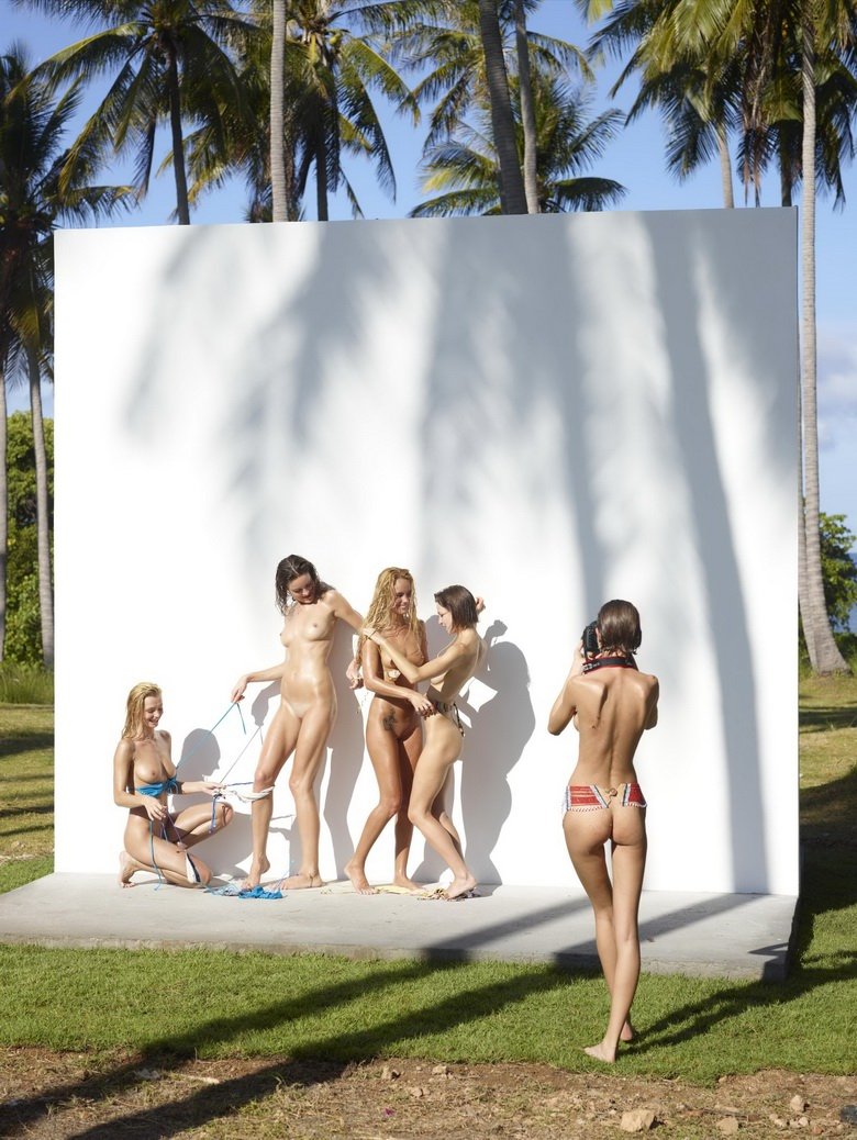 4 cute nudist girls against the wall #10