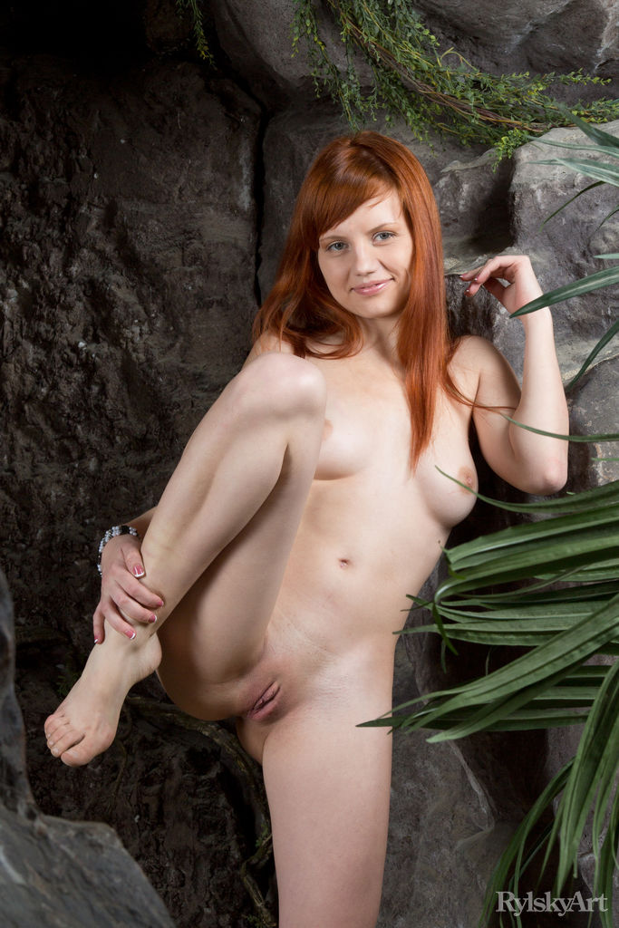 skinny redhead doing some flexible moves #2