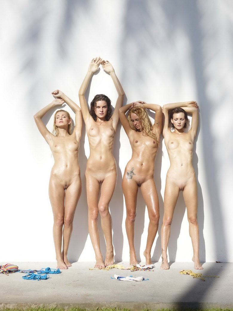 4 cute nudist girls against the wall #2
