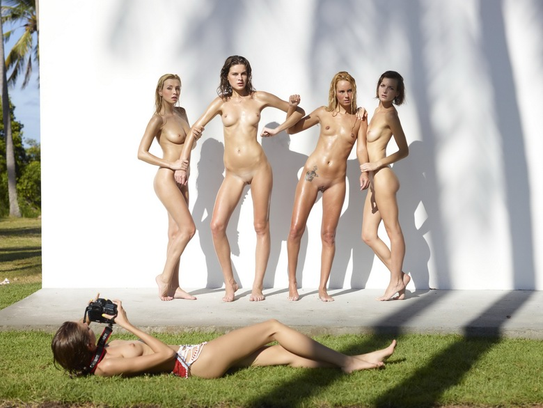 4 cute nudist girls against the wall #5
