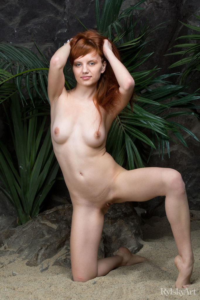 skinny redhead doing some flexible moves #3