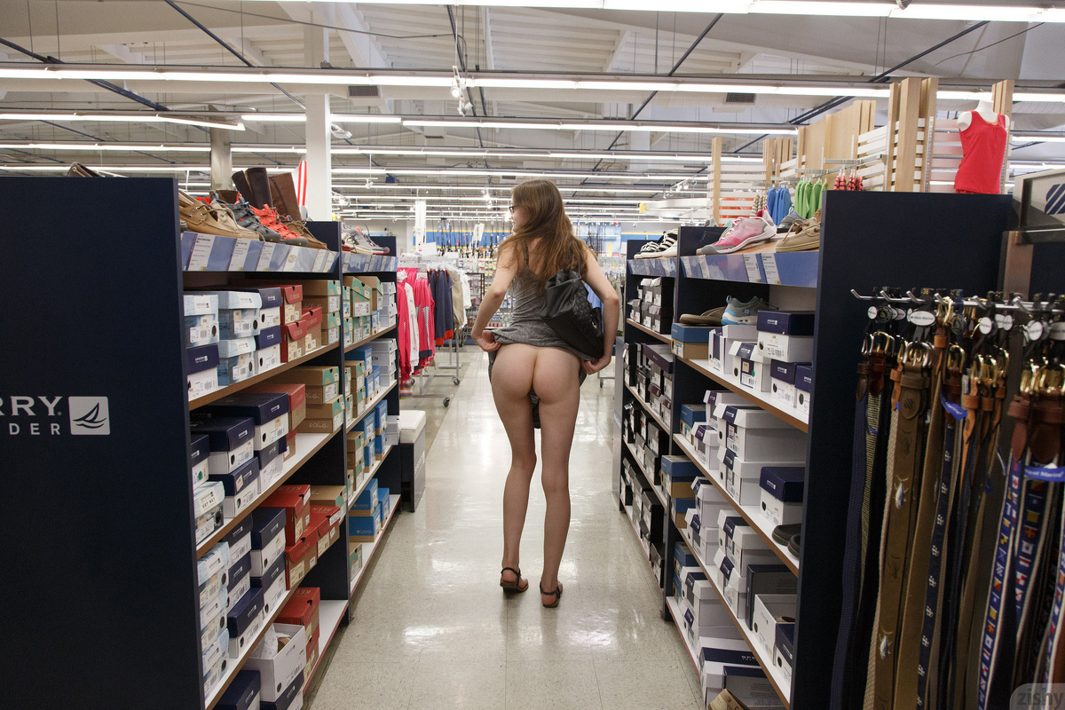 sexy nerdy girl going shopping without panties #2