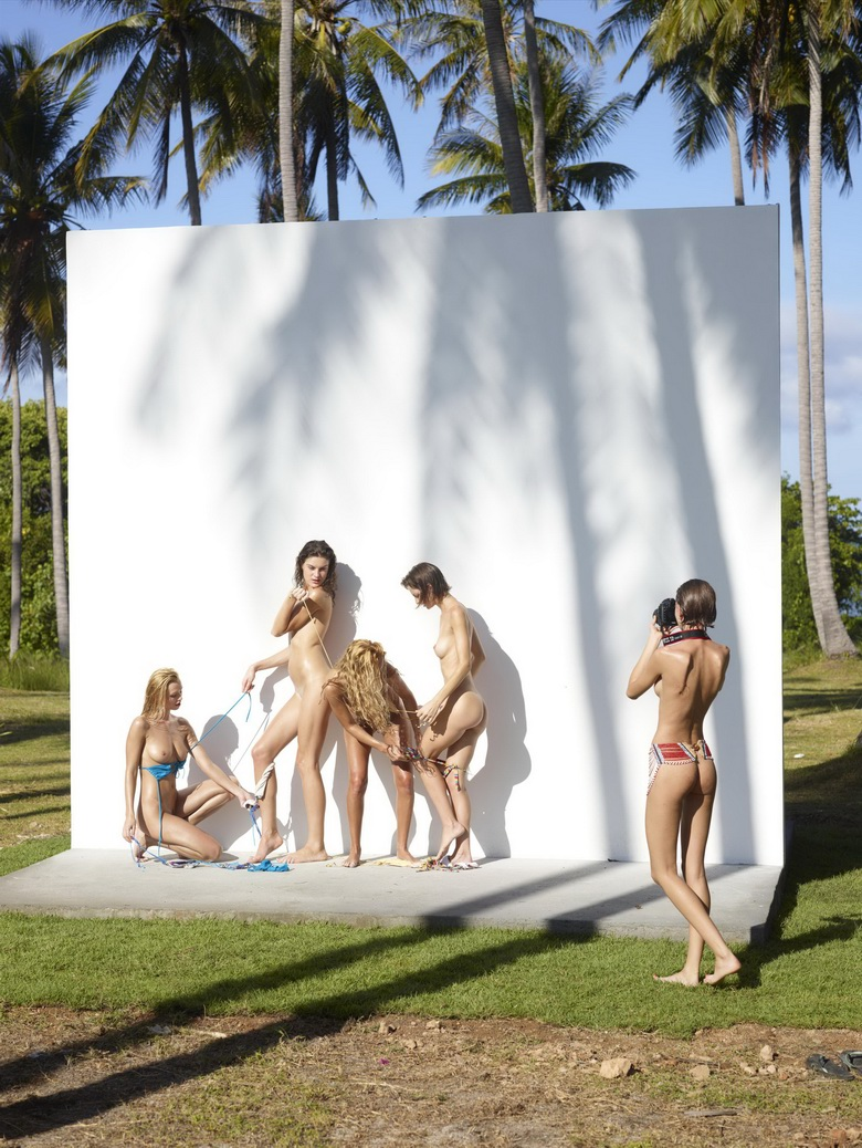 4 cute nudist girls against the wall #6