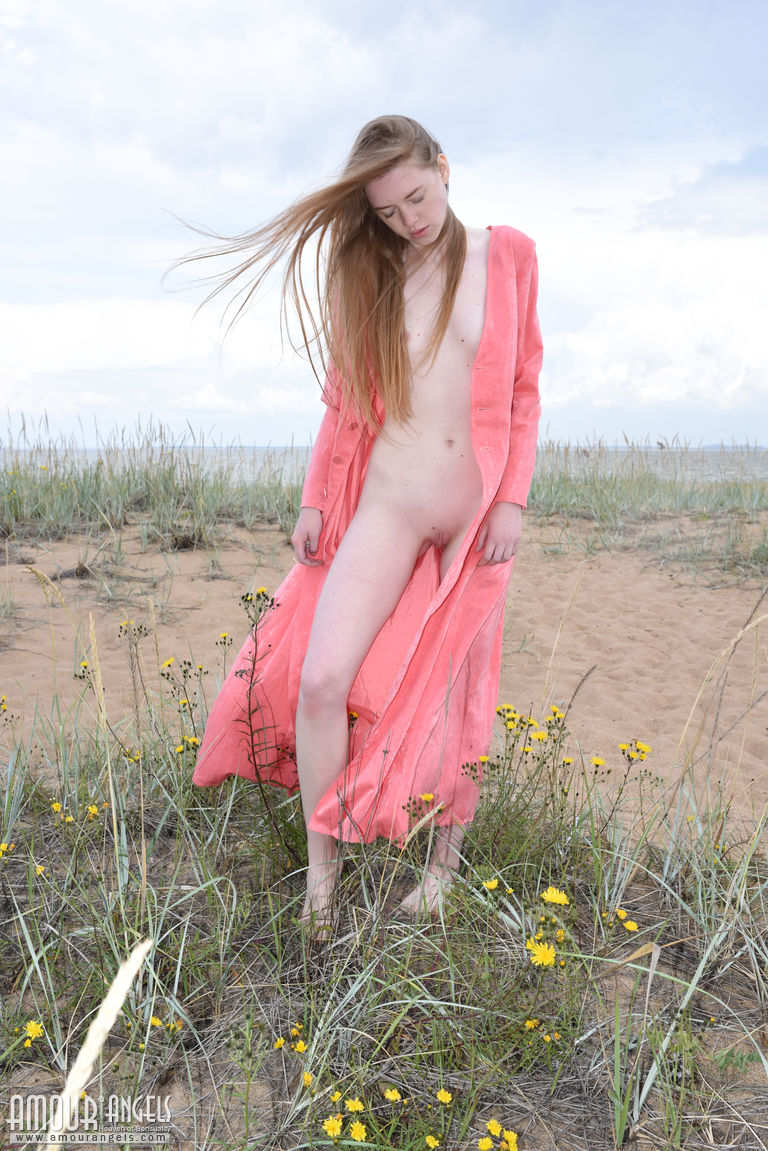 long haired russian single hanging arround naked at the shore #6