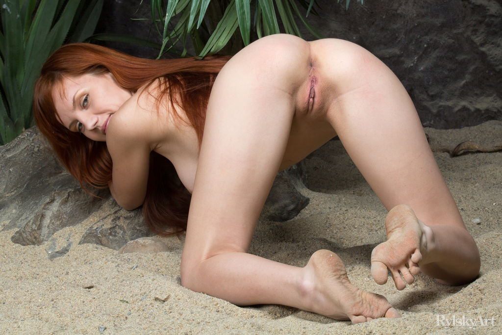 skinny redhead doing some flexible moves #5