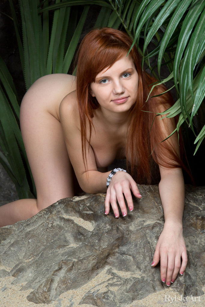 skinny redhead doing some flexible moves #1