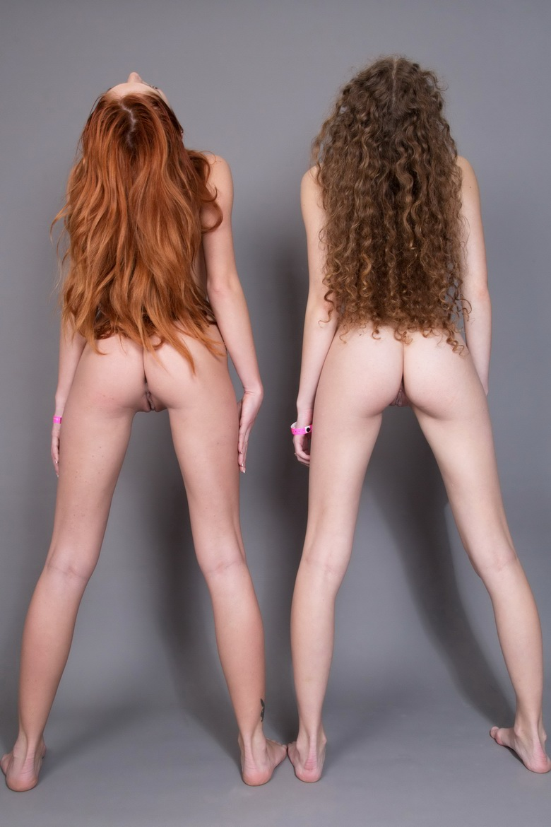 longhaired beauties expsosing their cute tiny butts #3