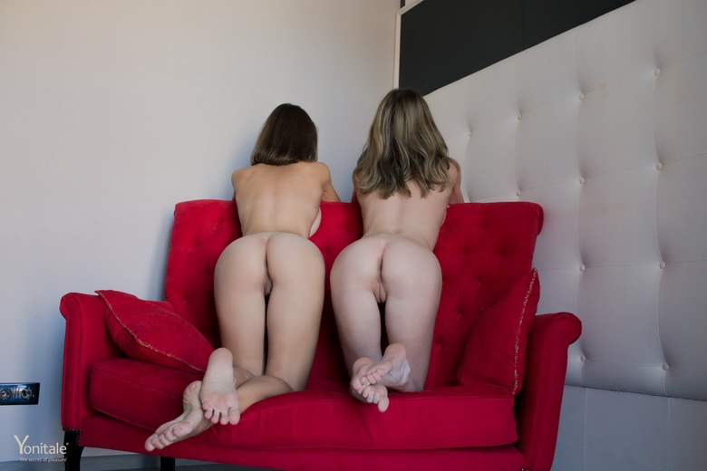 Big sister and her schoolmate flaunting naked on my couch from yonitale #12
