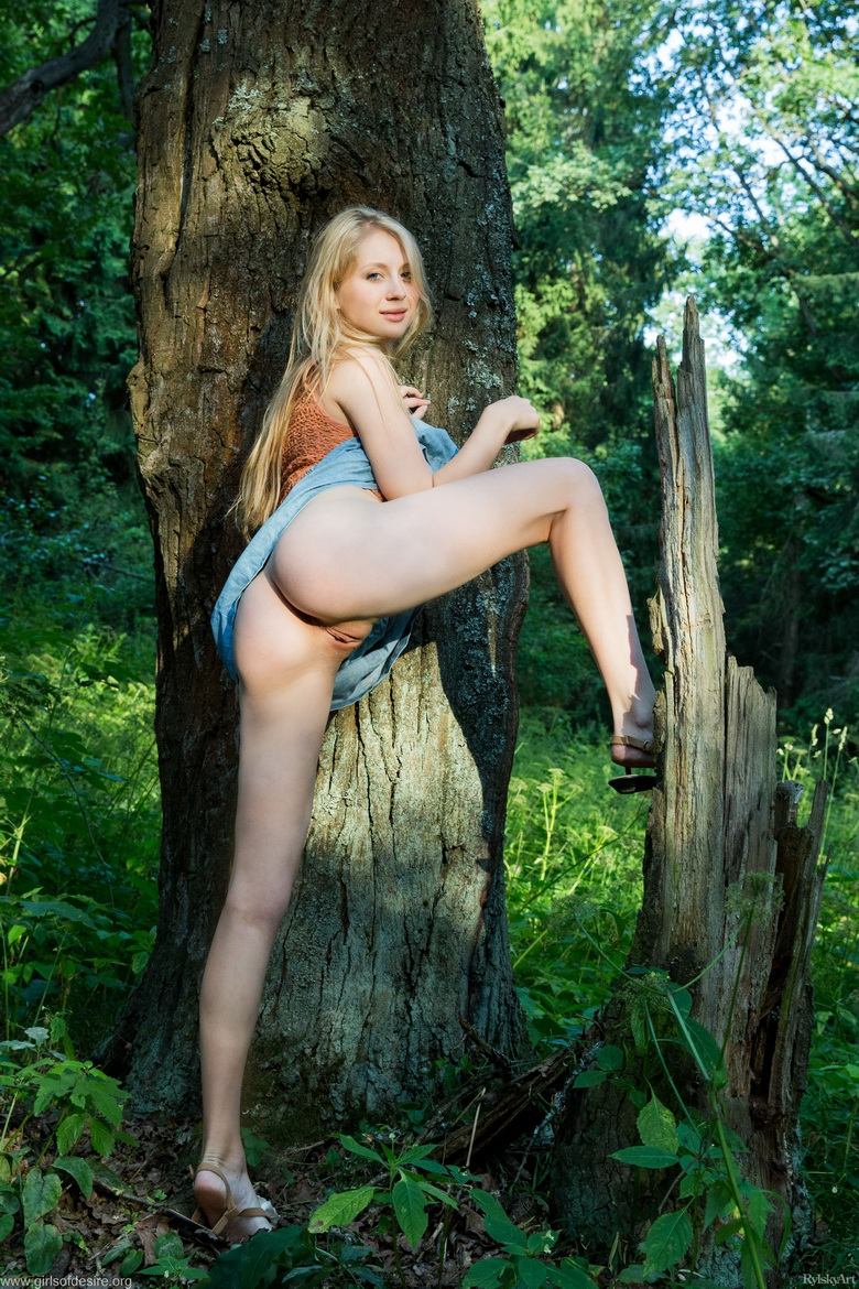 shy tall blonde beauty flashing tits and slit in the forrest #3