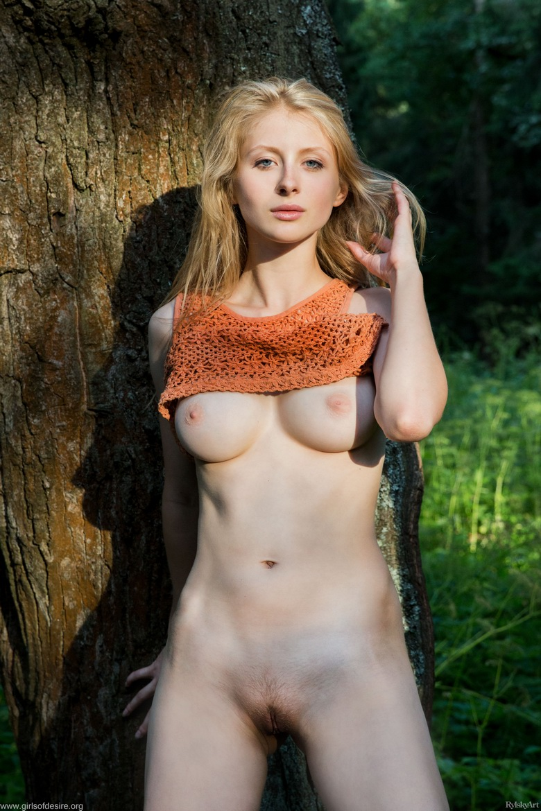shy tall blonde beauty flashing tits and slit in the forrest #10