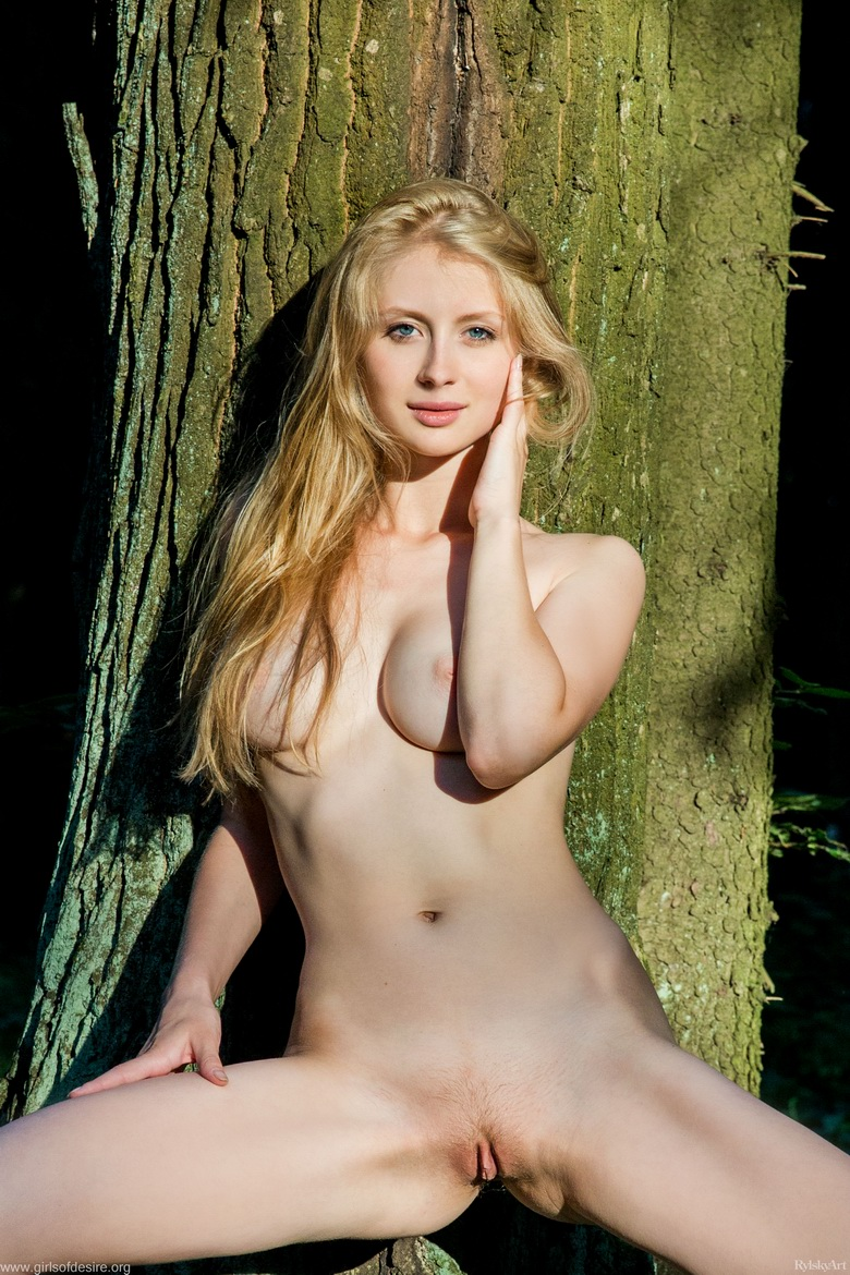 shy tall blonde beauty flashing tits and slit in the forrest #12
