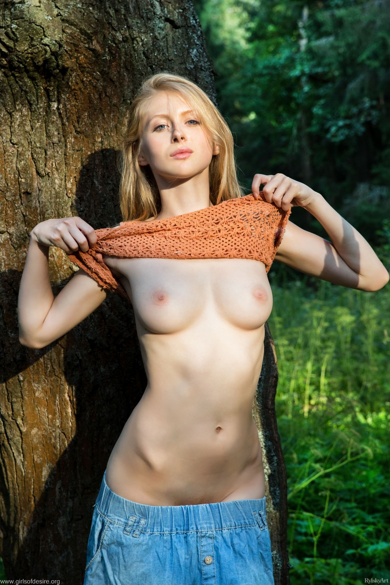 shy tall blonde beauty flashing tits and slit in the forrest #7