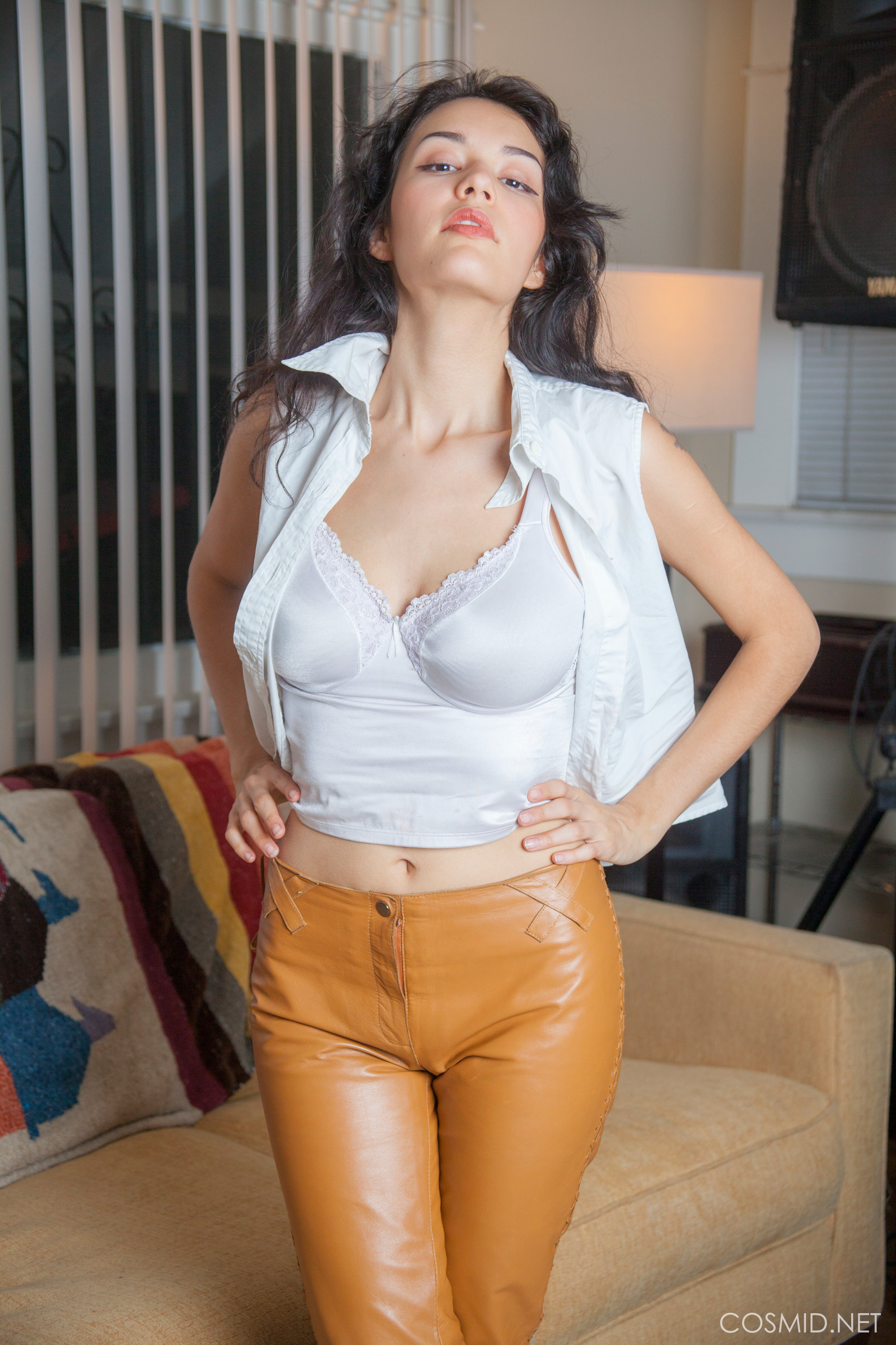 new cosmid model in wonderful leather trousers modelling her marvelous tits #2