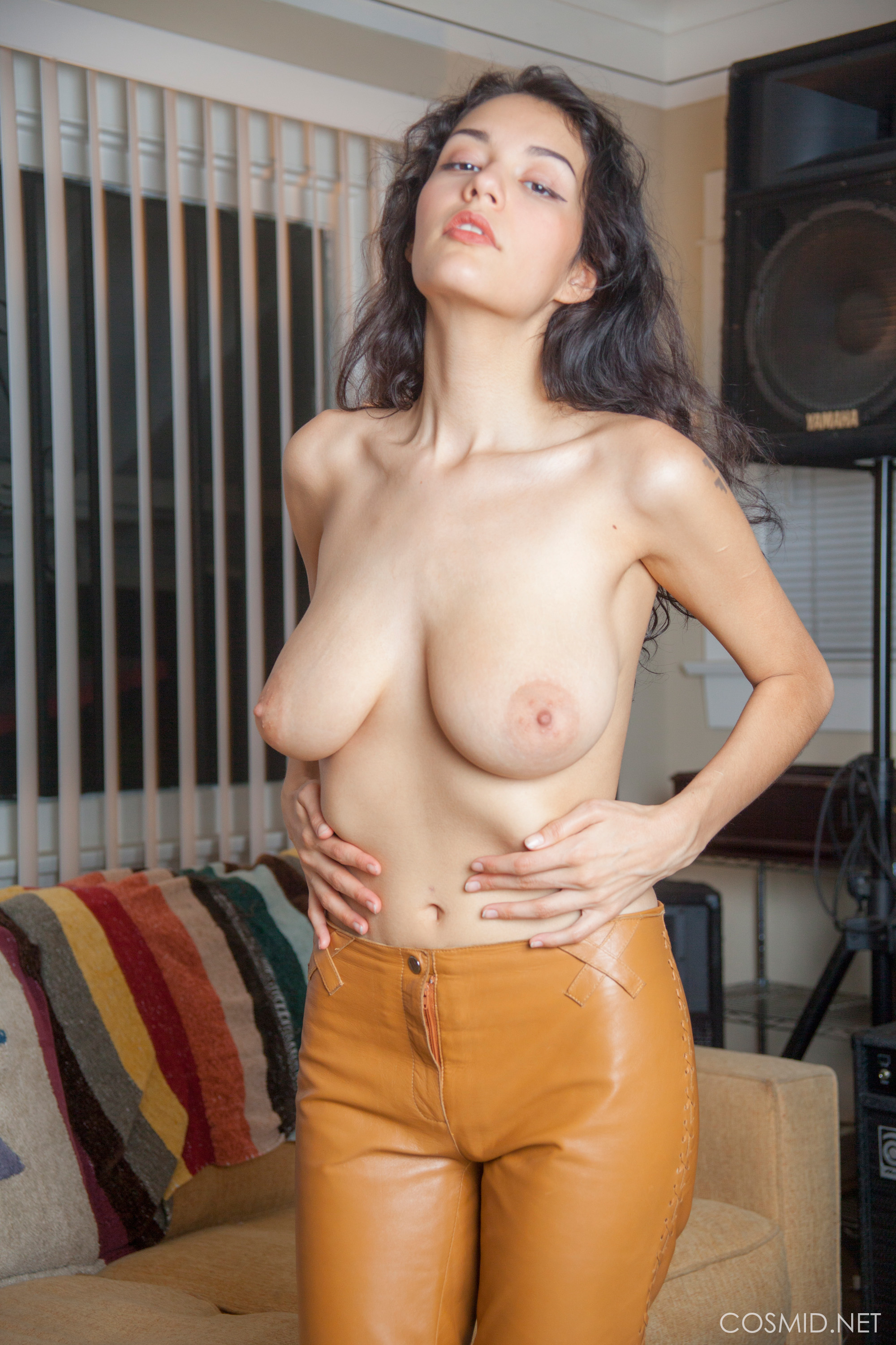 new cosmid model in wonderful leather trousers modelling her marvelous tits #6
