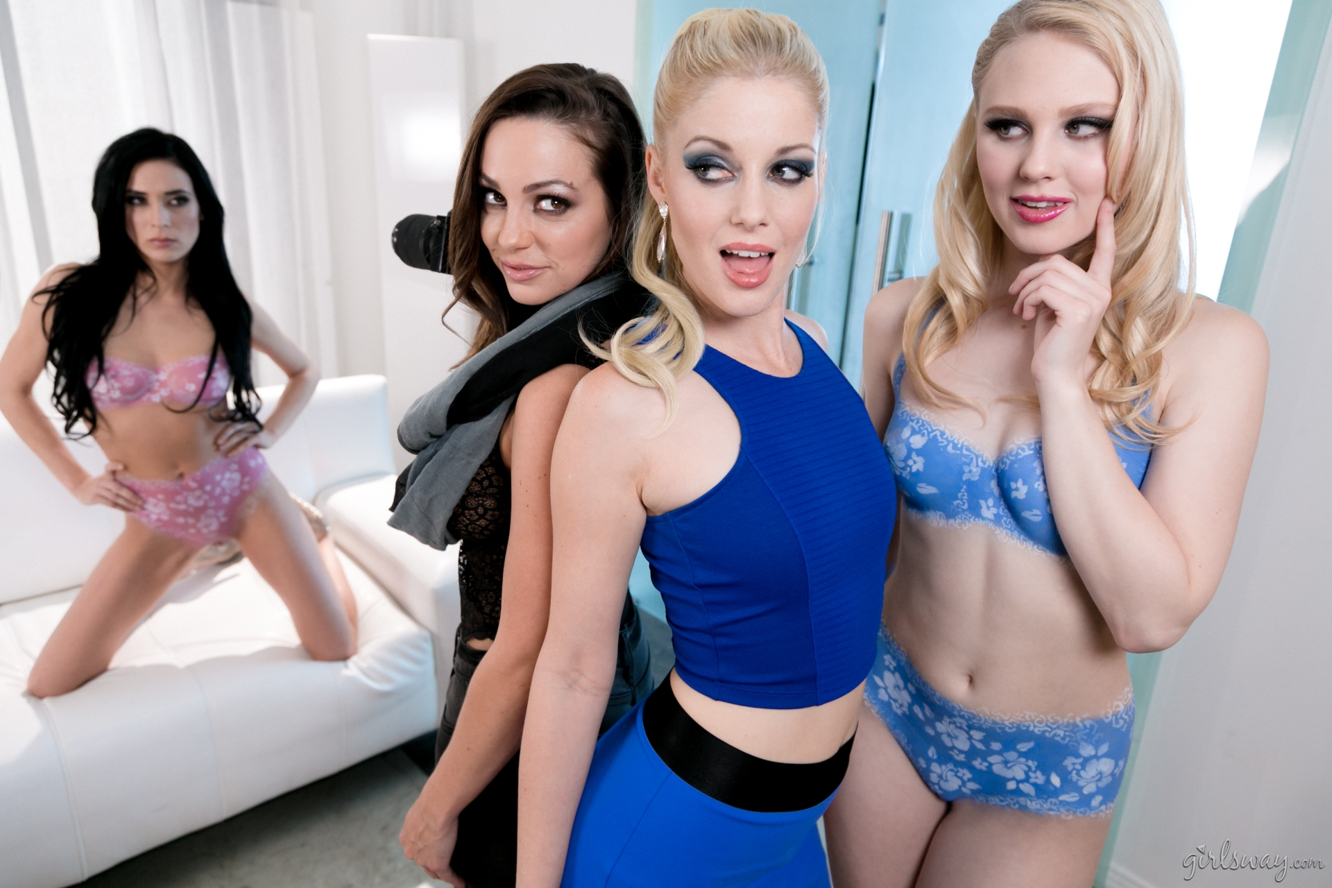 Abigail Mac, Charlotte Stokely, Aiden Ashley , Lily Rader facesitting each other #1