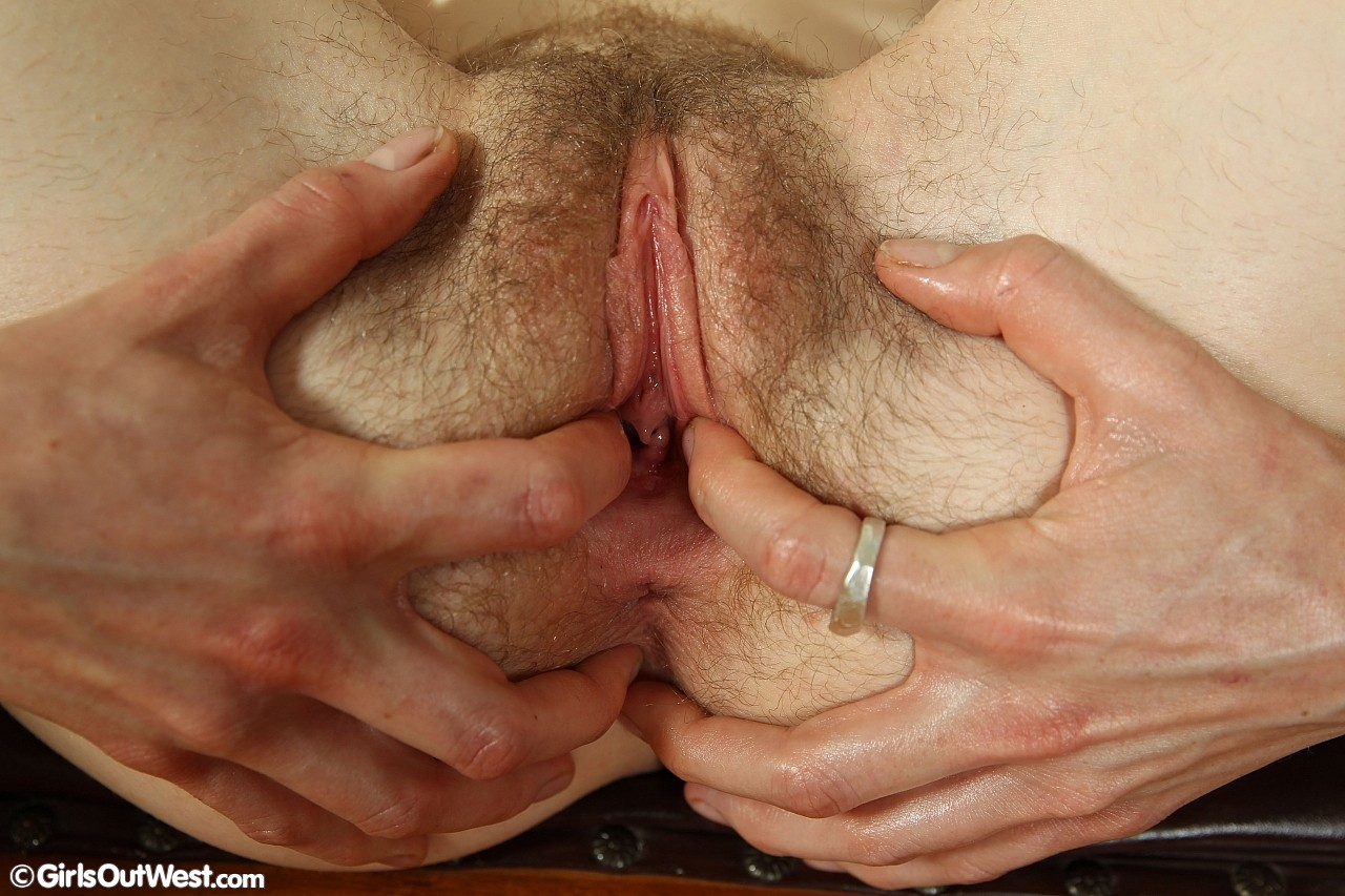 Girlsoutwest – unshaved skinny girl opens her hairy lips for a great view of her clitoris #6