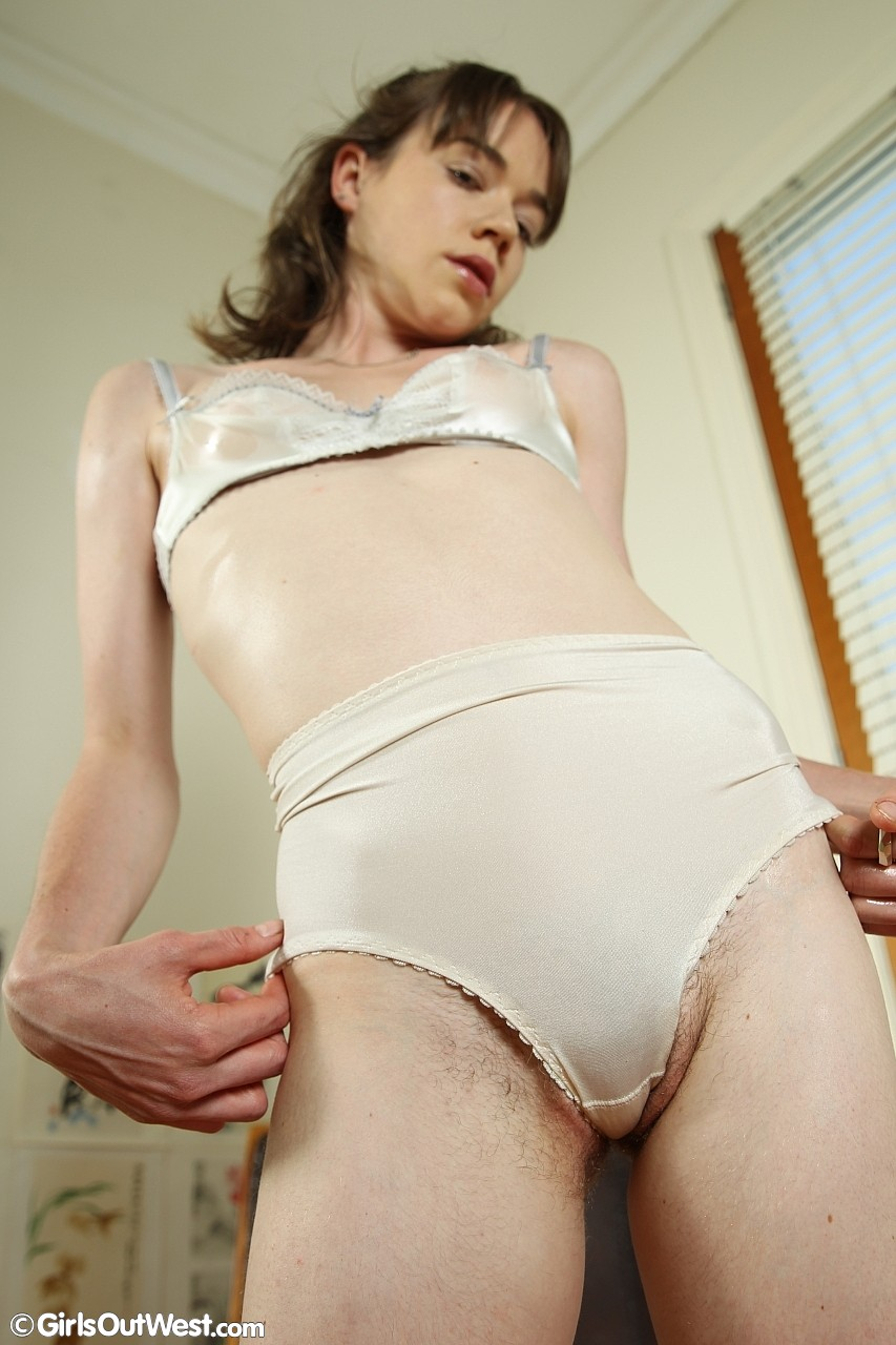 Girlsoutwest – unshaved skinny girl opens her hairy lips for a great view of her clitoris #3