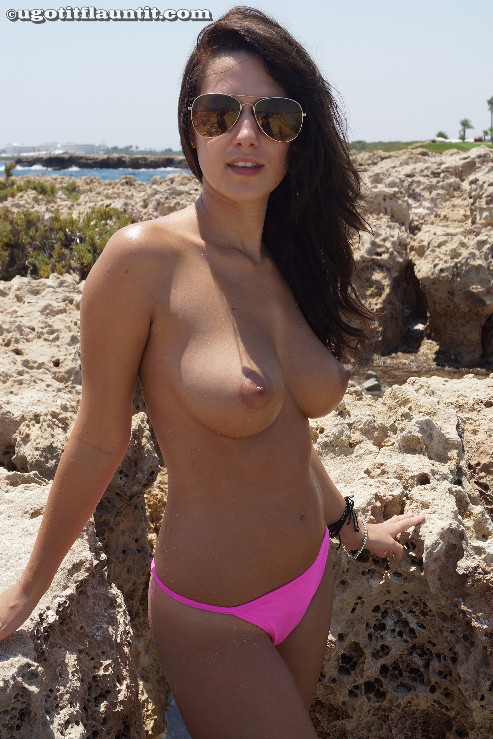 tits parade on the public beach with ugotitflauntit beauty anna #1