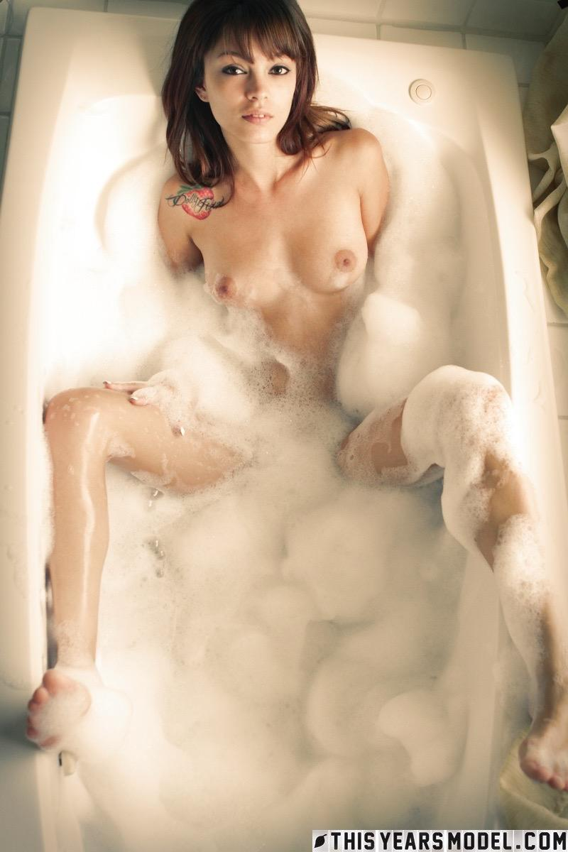 brown haired amazone taking a bubble bath #1
