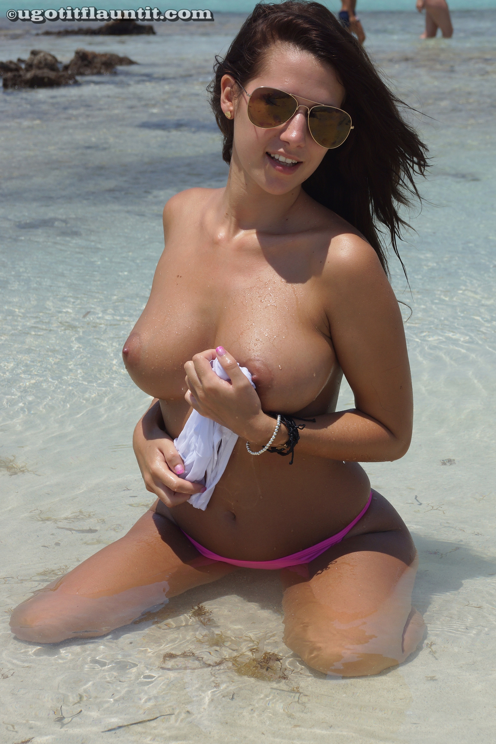 tits parade on the public beach with ugotitflauntit beauty anna #3