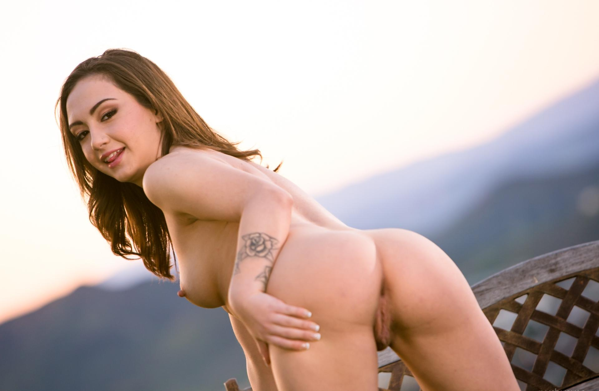 Lily Jordan all american cutie Lily Jordan flashing her vag and tits in front of a wonderful landscape 5