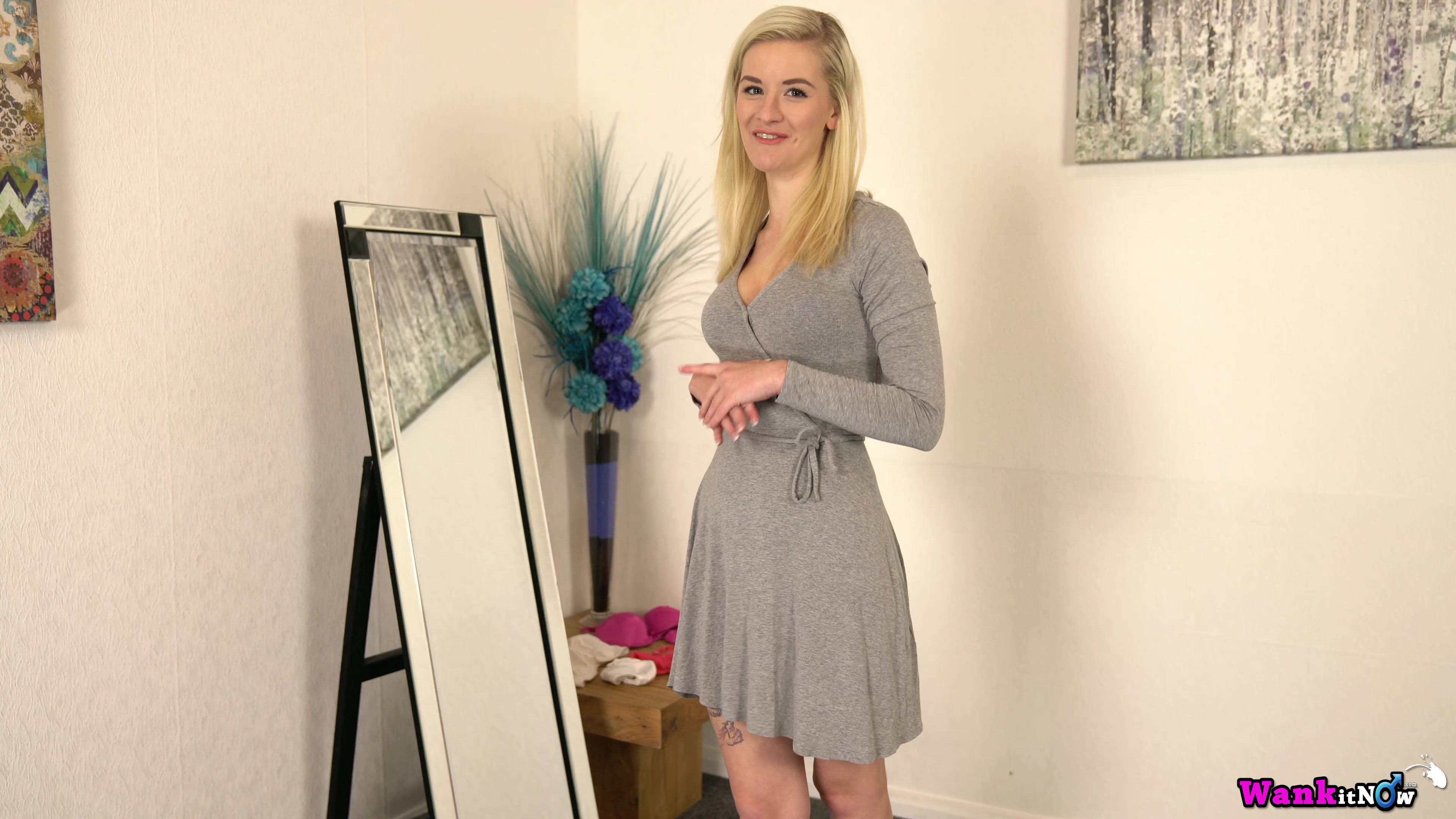Wankitnow – slender british cutie grace puts off her new lingerie to tease in front of a mirror #3