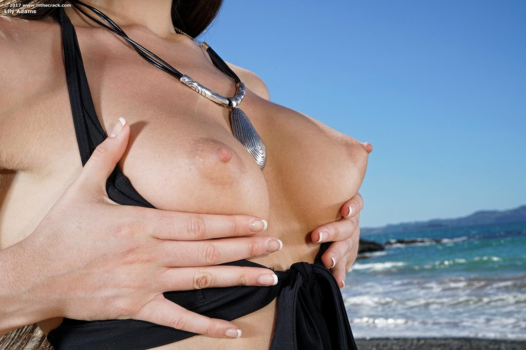 un unforgettable day at the beach with naked Lily Adams flashing her tighty crack #8