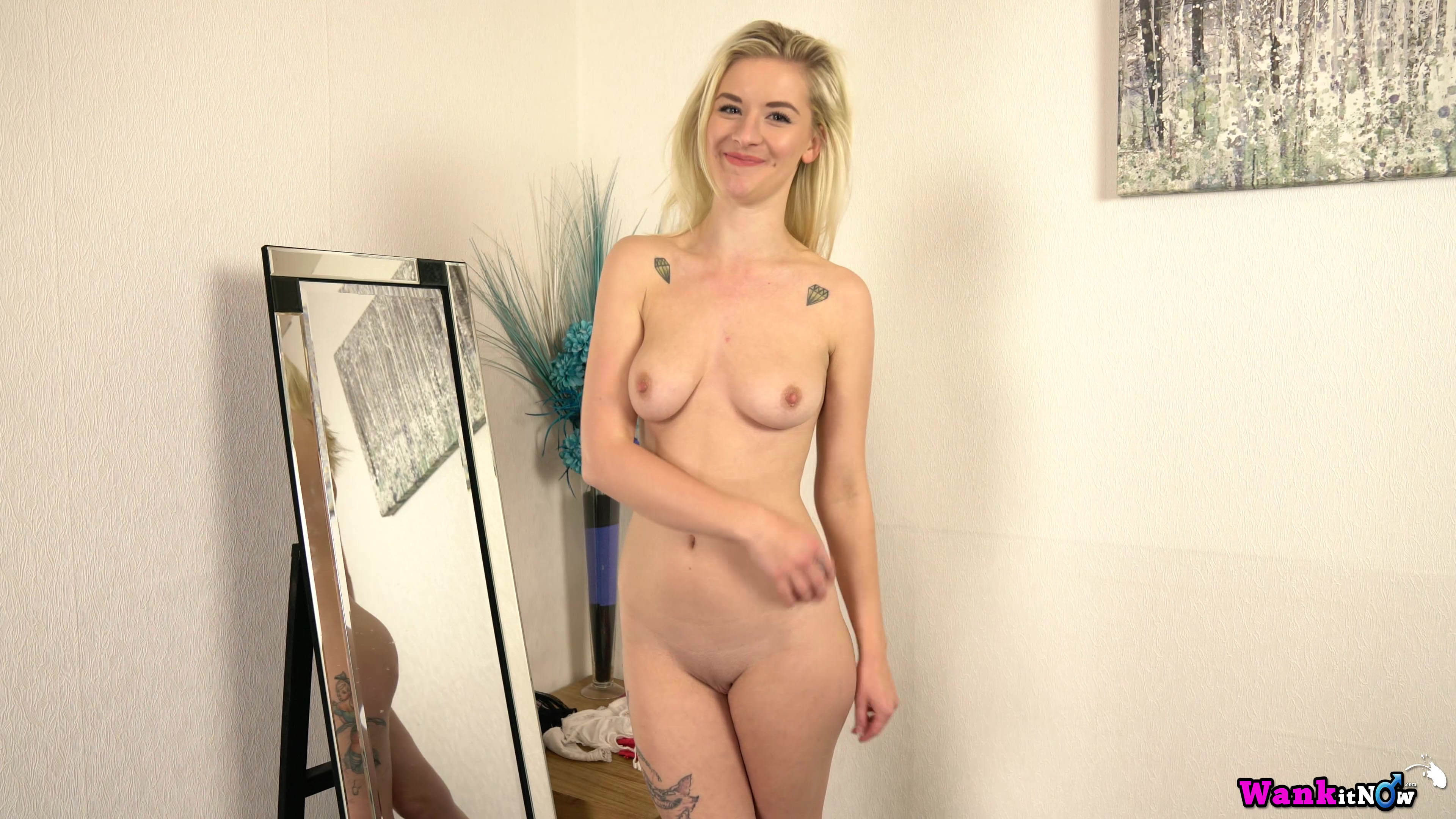Wankitnow – slender british cutie grace puts off her new lingerie to tease in front of a mirror #7