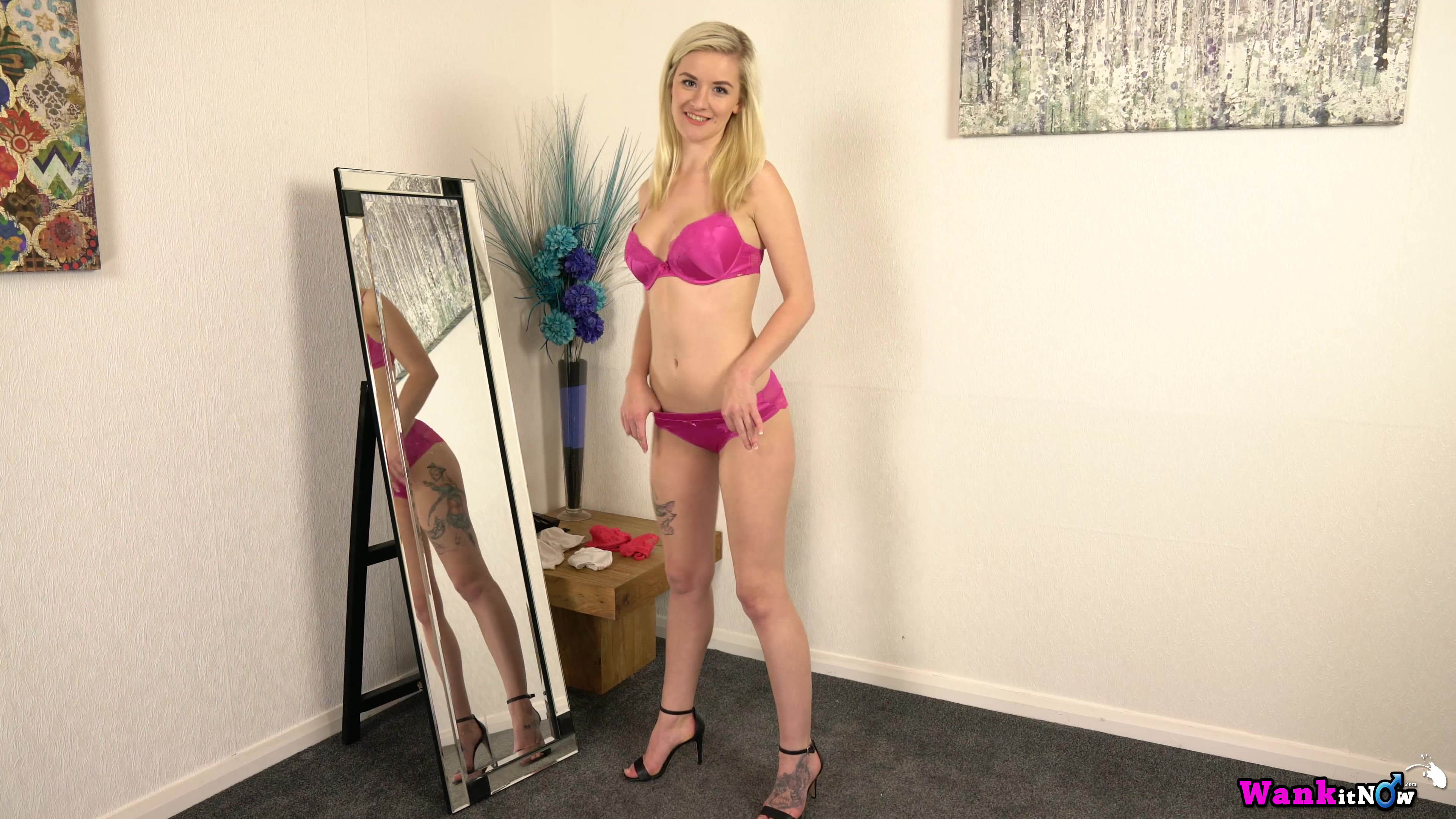 Wankitnow – slender british cutie grace puts off her new lingerie to tease in front of a mirror #5