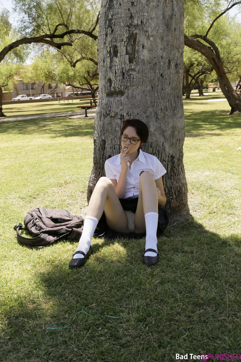 naughty geek ditching school gets punished by her schoolmaster #2
