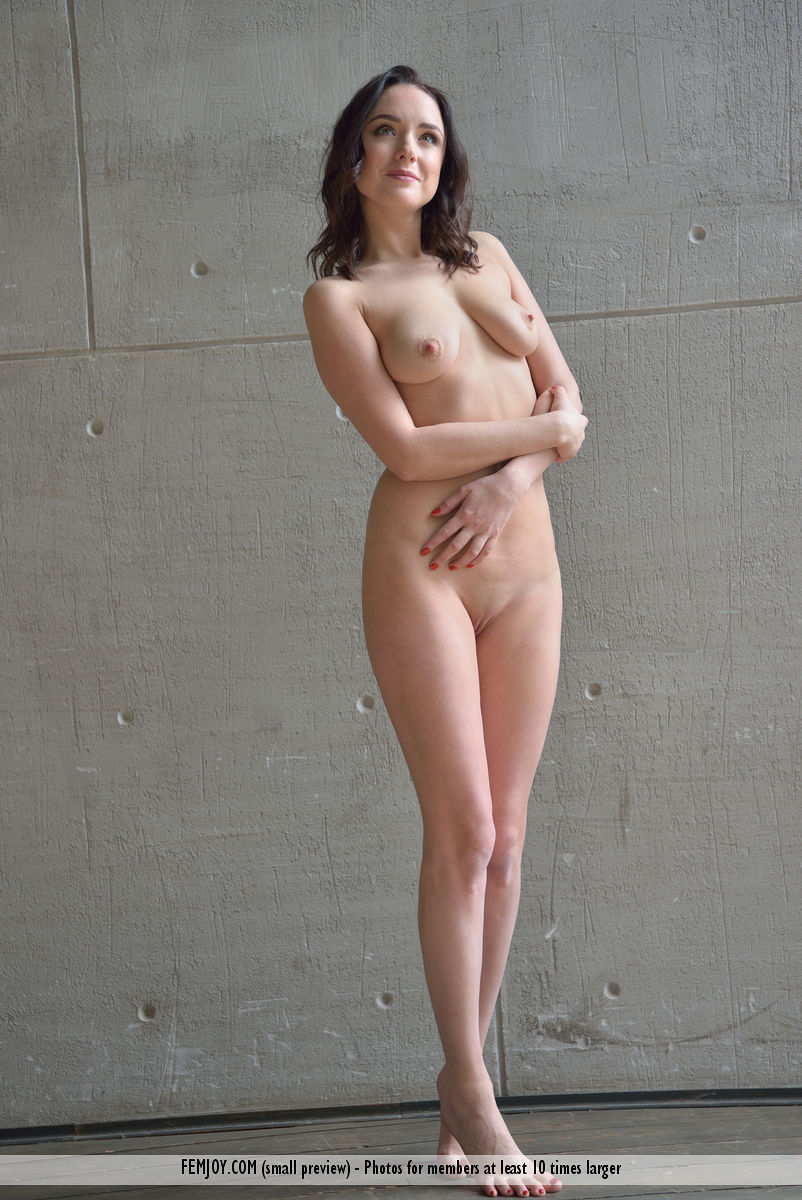 delicious busty cutie with an athletic figure posing in front of a casting wall #5