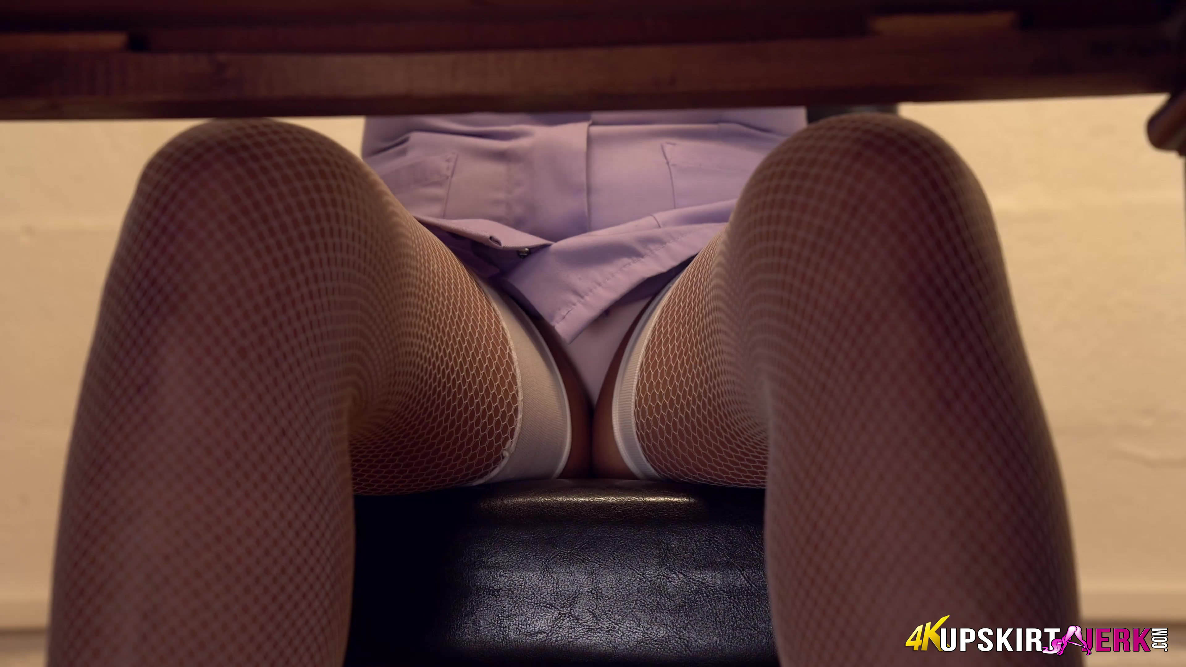 a slutty peak inside nurse shellys legs #3