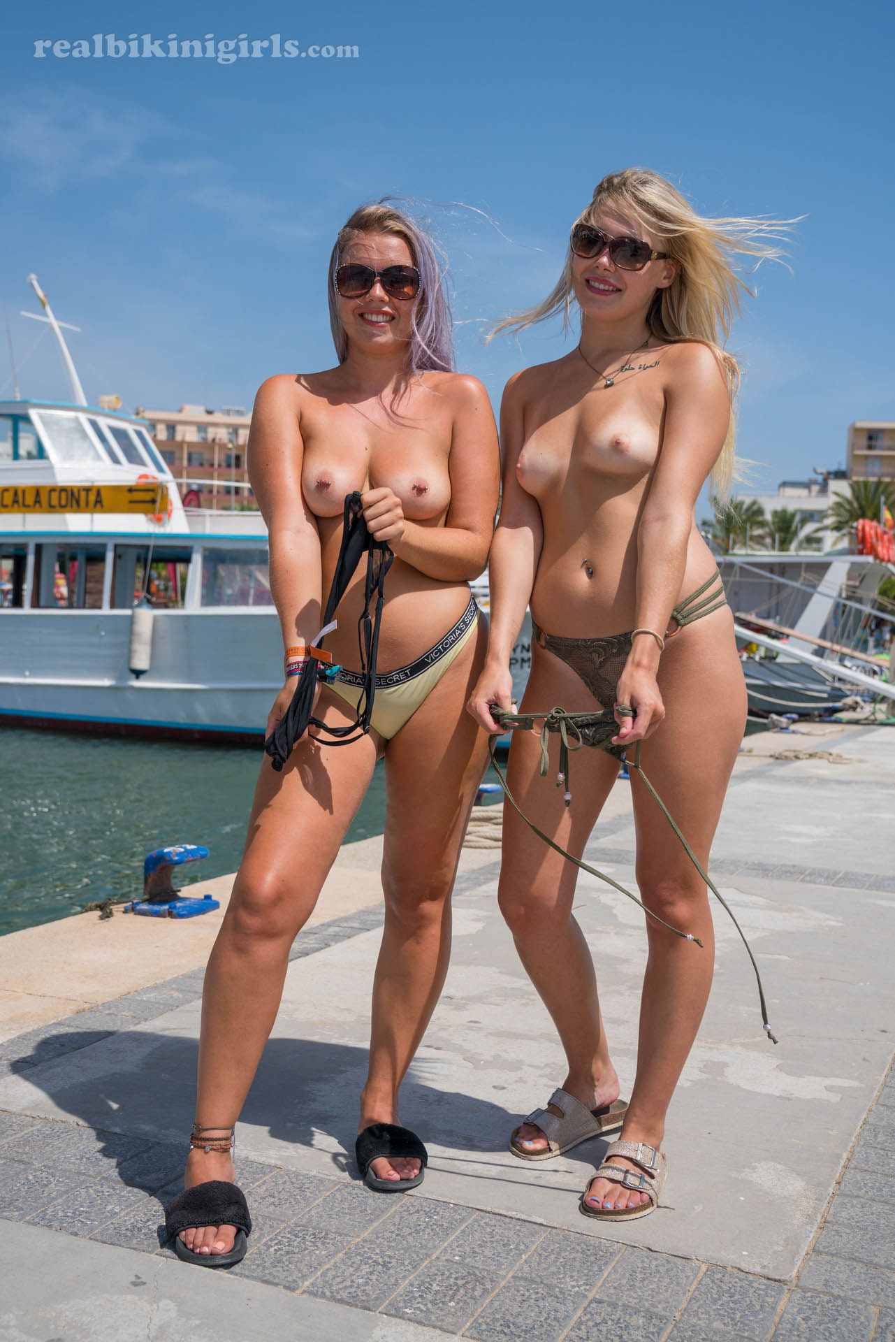 topless hottie laura and her best girl flashing tits near the habour #1