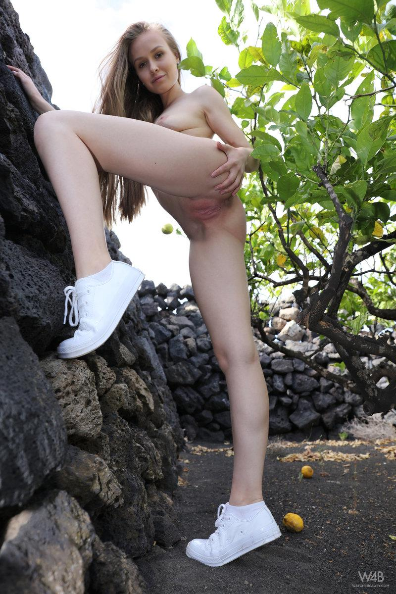 pretty petite posing naked in the nature park while her brothers id shooting fotos #7