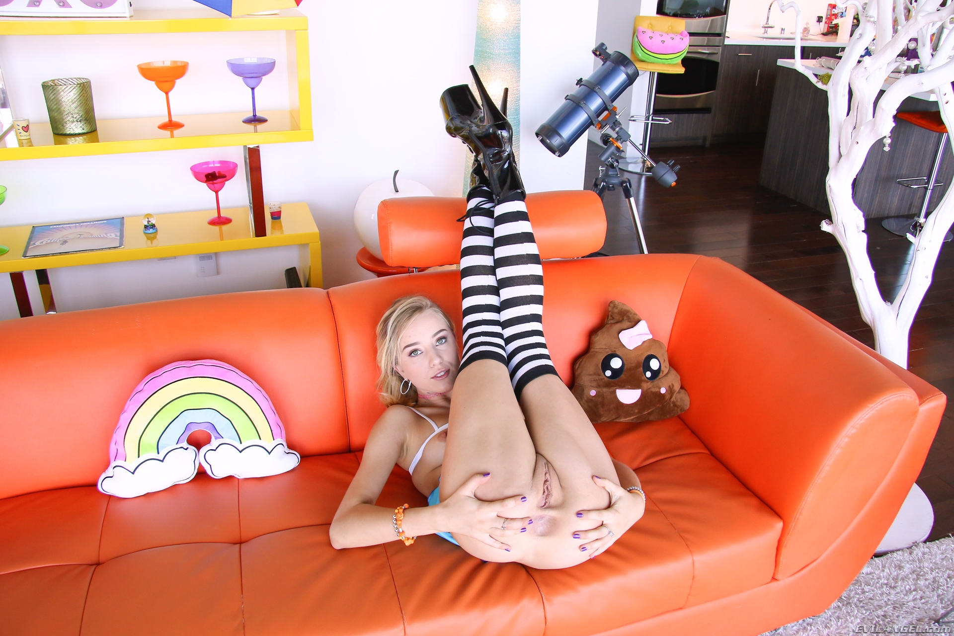 super tight cutie flashing her boney ass on the procuders couch #6