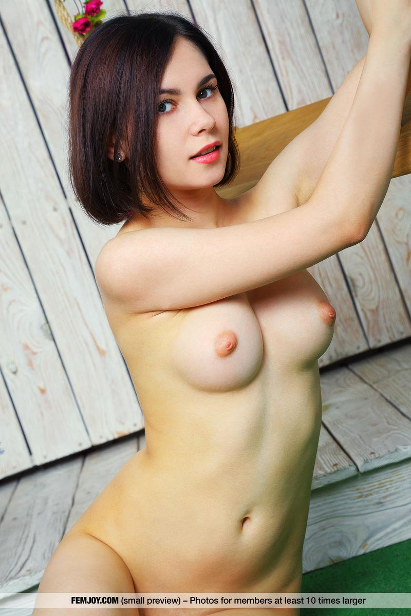 a dark haired cutie with a boney butt flashing her pussy from behind #3