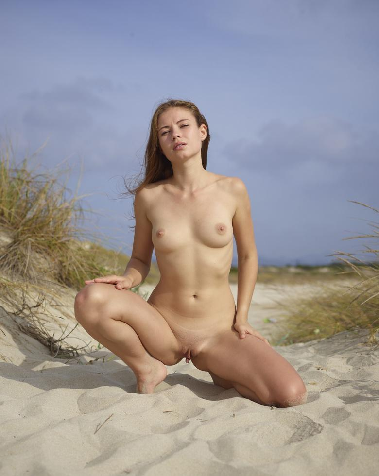 natural brunette nudist cutie allone at the beach picture