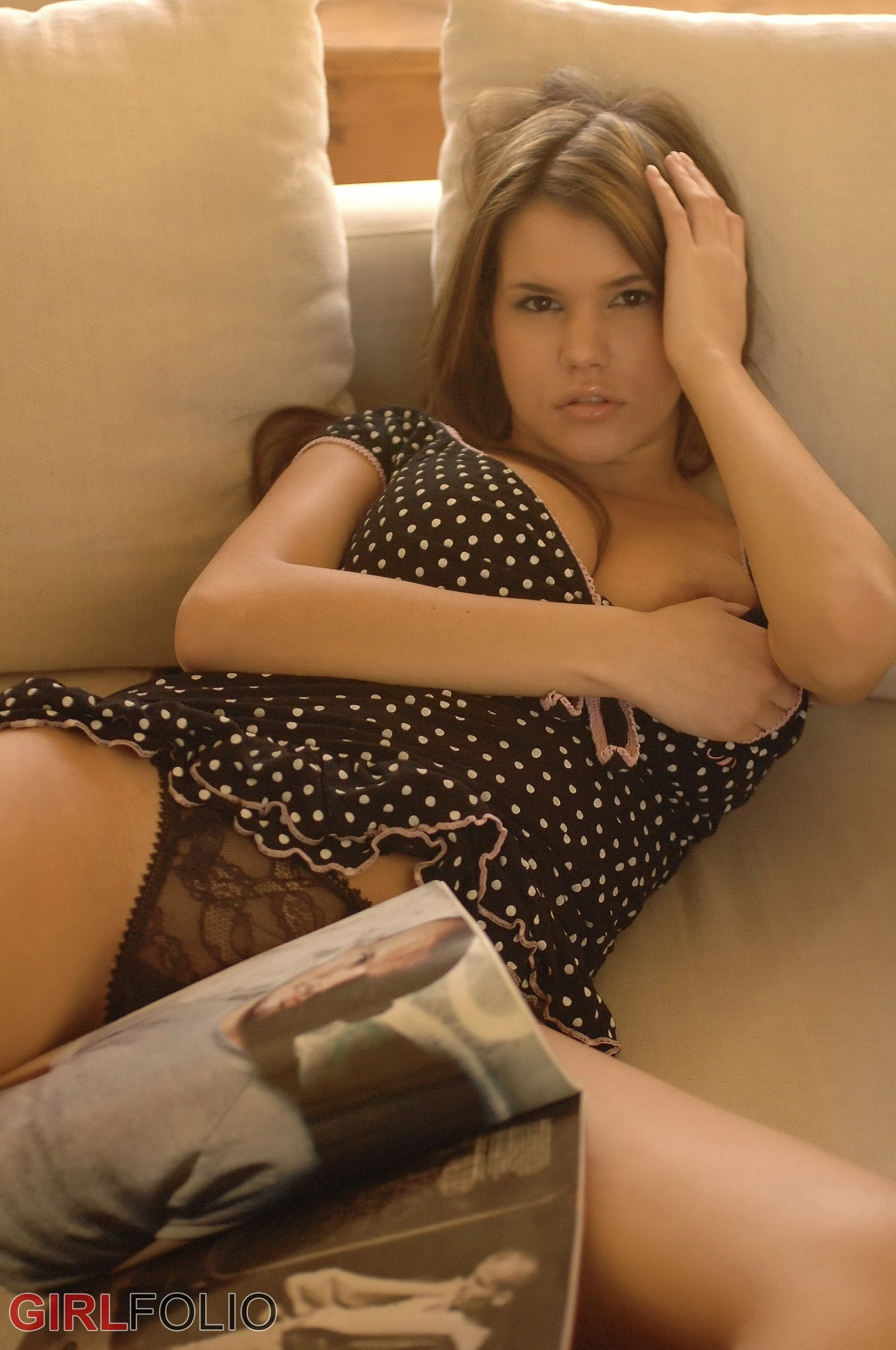 Isabella, french brunette with wonderful legs crouching down #8