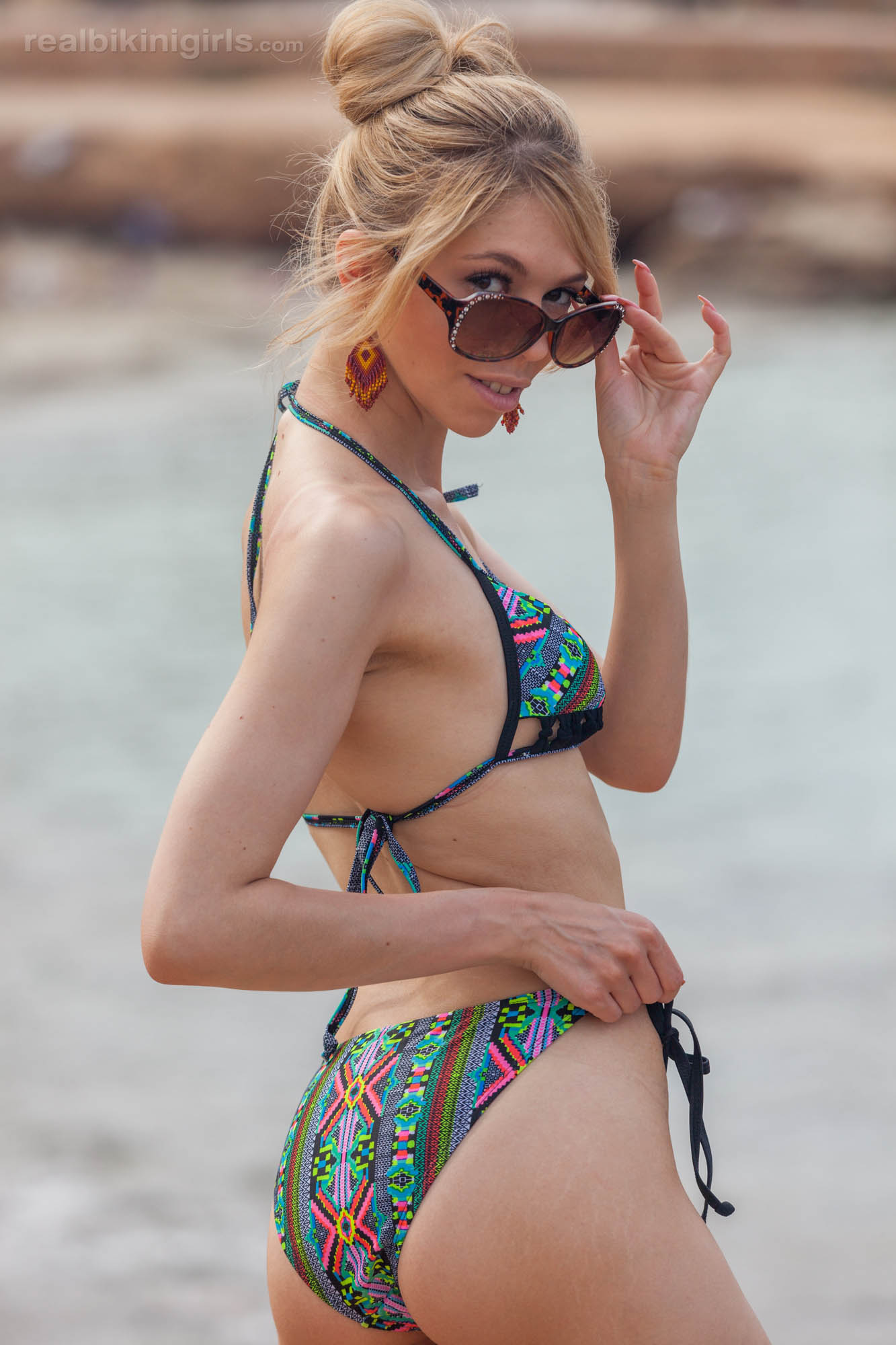boney british cutie flashing her small bobs at ibiza beach #12