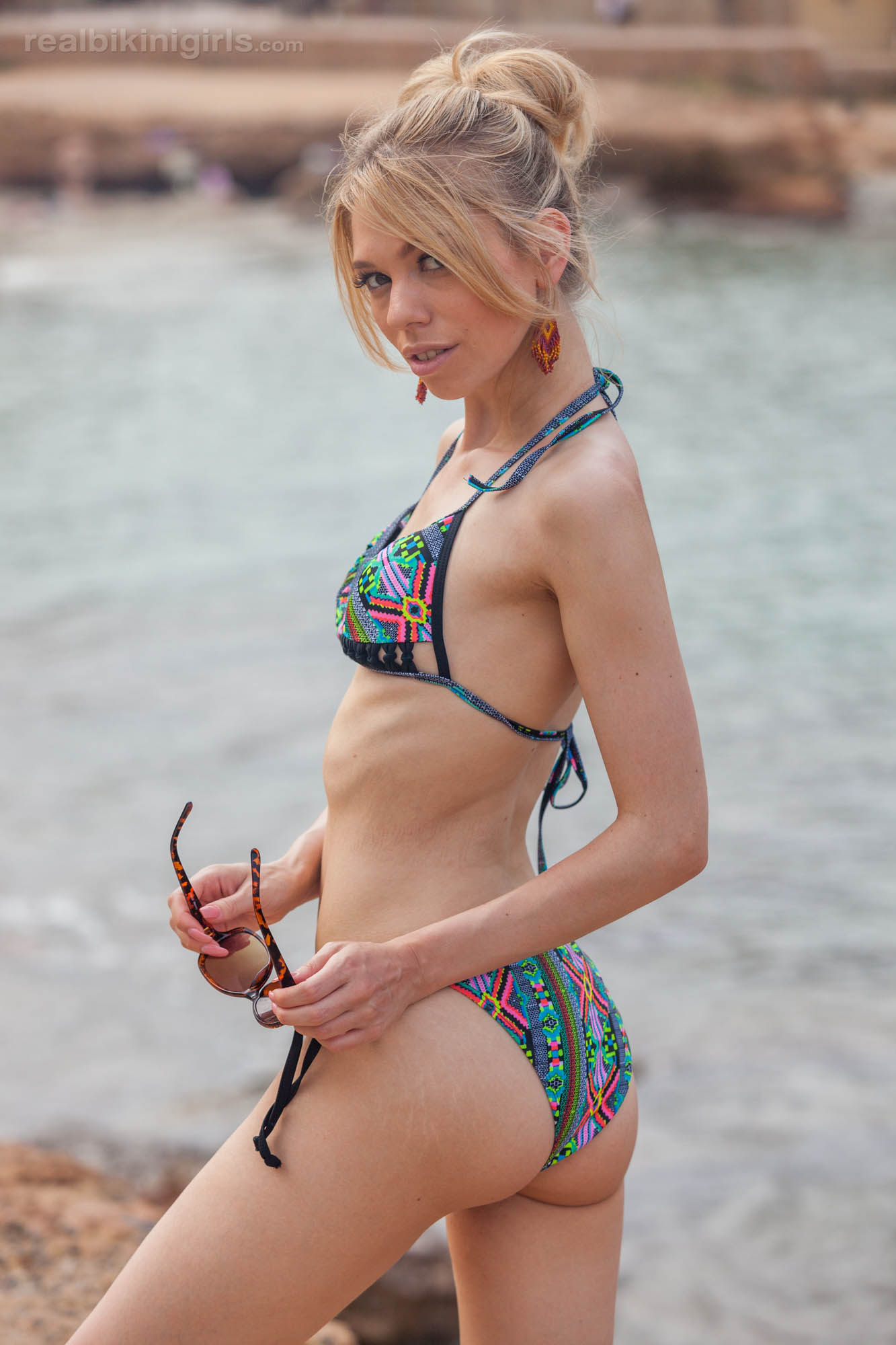 boney british cutie flashing her small bobs at ibiza beach #3