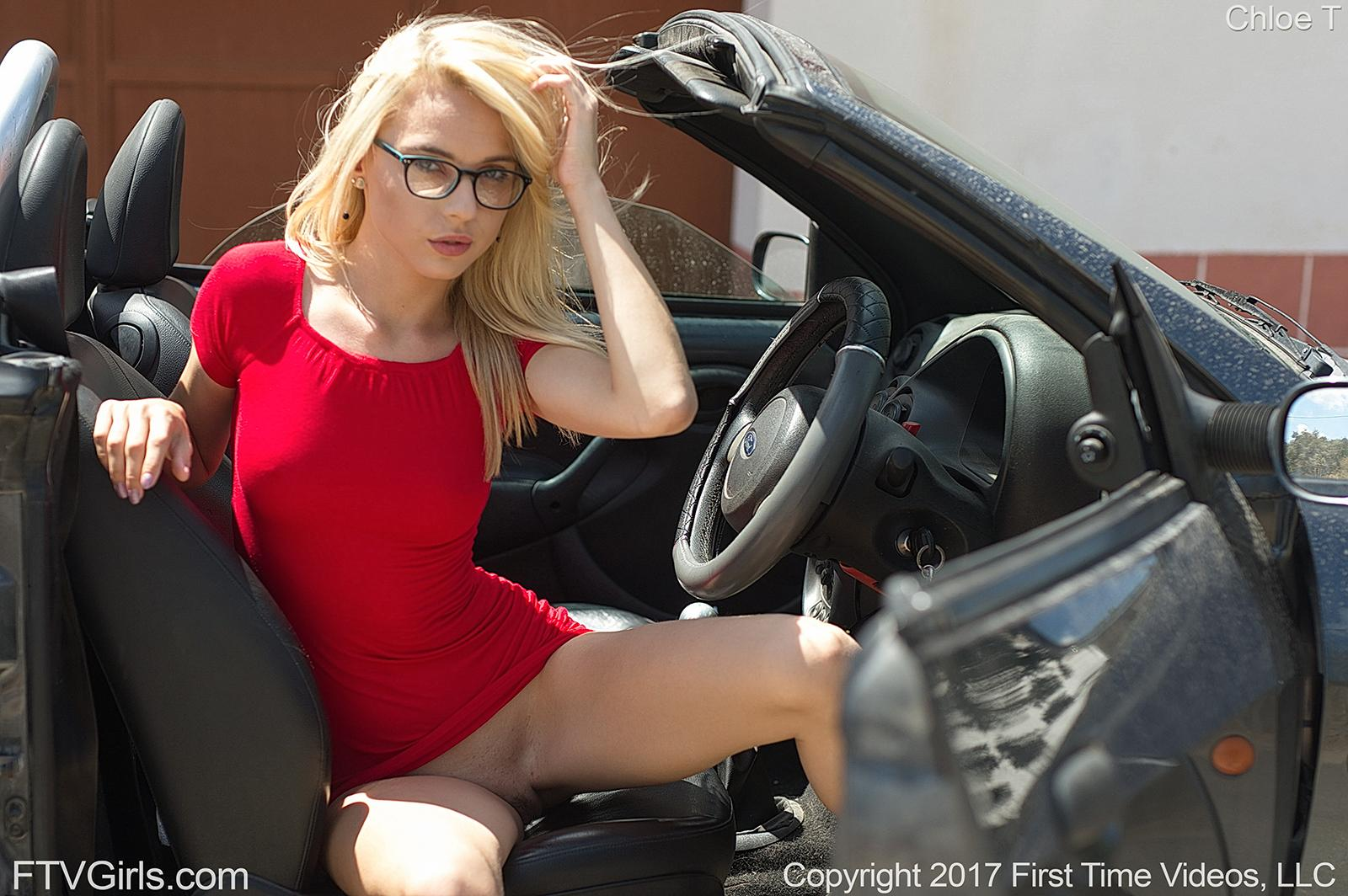 beautiful geek going out of car without panties #12
