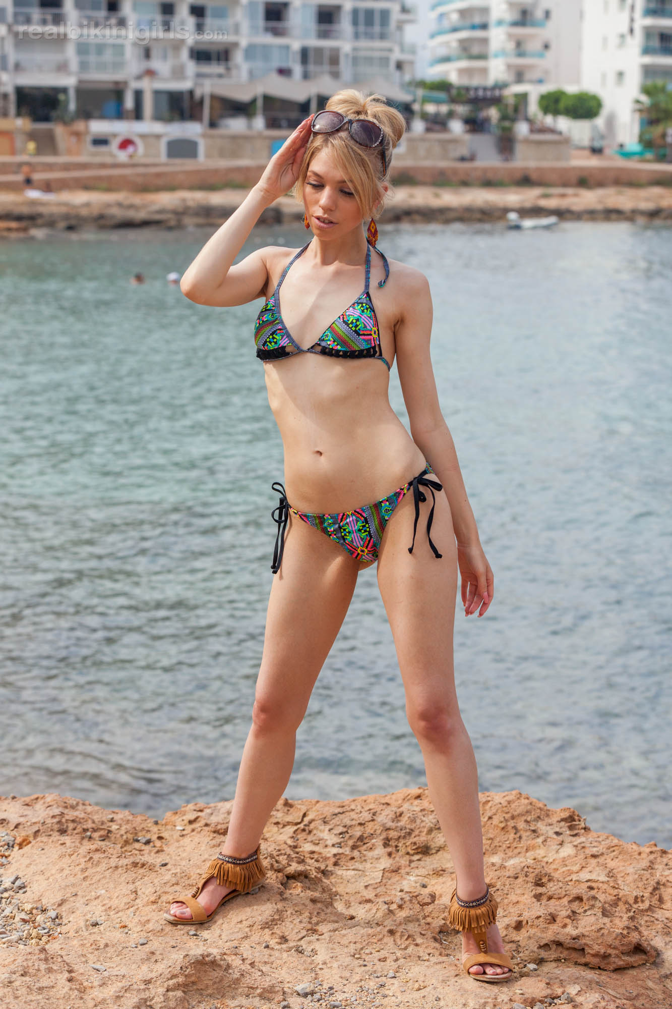 boney british cutie flashing her small bobs at ibiza beach #8